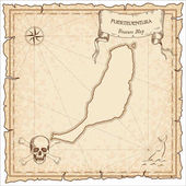 Fuerteventura old pirate map Sepia engraved parchment template of treasure island Stylized manuscript on vintage paper