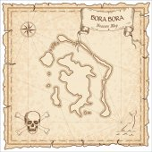 Bora Bora old pirate map Sepia engraved parchment template of treasure island Stylized manuscript on vintage paper