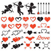 Love theme set cupids amours hearts arrows valentine`s day illustration isolated on white background