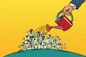Podnikatel napojena peníze dolarů z konve