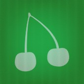 Cherry sign illustration white icon on the green knitwear or woolen cloth texture