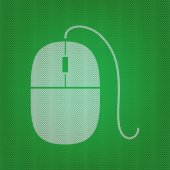 Mouse sign illustration white icon on the green knitwear or woolen cloth texture