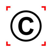 Copyright sign illustration. Black icon in focus corners on whit