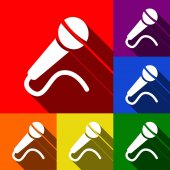 Microphone sign illustration Vector Set of icons with flat shadows at red orange yellow green blue and violet background