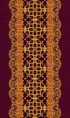 Květinový okraj. Vzorek, bezešvé. Zlatá krajka, tkaní, indické, asijské dekorace, dekorativní lesklá výšivka, arabesky, abstraktní tvary