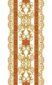 Virágos függőleges szegélyt. Minta, varrat nélküli. Arany csipke, szövés, indiai, ázsiai dekoráció, dekoratív fényes hímzéssel, arabesque, absztrakt formák