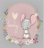 Cute little cartoon mouse with flowers