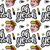 Seamless pattern with smiling girl and typographic quotes