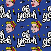 Seamless pattern with smiling girl eyes lips stars and quotes