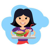Girl with fast food in her hands Vector illustration isolated on white background