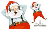Santa Claus relaxes and enjoys music on headphones