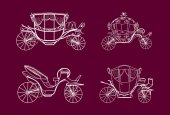 Vector illustration White outlines of Coaches Brougham on pink background