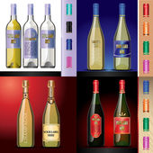 Vector wine bottles mockup with your label here text Blue red and white bottle yellow and red wine Red orange green and pink caps