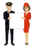 Young pilot and stewardess hold empty blank board