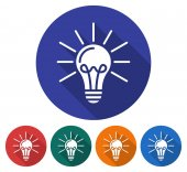 Round icon of lamp radiating light Flat style illustration with long shadows in five variants background color