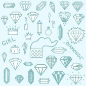 Vector illustration set of different freehand drawn cartoon diamonds and other things