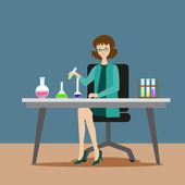 A girl chemist or assistant conducts chemical or biological experiments on mixing solutions New scientific discoveries Flat character on grey background Vector illustration EPS10