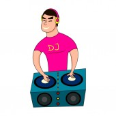 Male Disc Jockey Mixing Songs Using His Turntable DJ boy