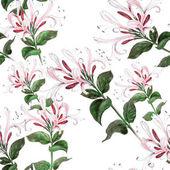 Sprig of honeysuckle. Watercolor. Seamless pattern.