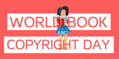 World Book and Copyright Day Horizontal Banner Wtih Reading Girl Vector