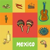Mexico checkered concept in national colors Maracas guitar folk flute chilli pepper burritos cactus tequila toucan ornament hand drawn vector icons Country related doodle symbols and text
