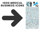 Arrow Right icon with 1000 medical commerce gray and blue vector pictograms Collection style is flat bicolor symbols white background