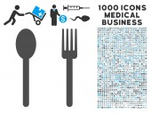 Fork and Spoon icon with 1000 medical business gray and blue vector pictograms Set style is flat bicolor symbols white background