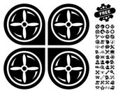 Nanocopter Screws Rotaion pictograph with bonus options clip art Vector illustration style is flat iconic symbols black color white background