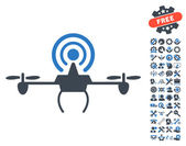 Wifi Repeater Drone pictograph with bonus service clip art Vector illustration style is flat iconic symbols smooth blue colors white background