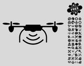 Radio Transmitter Airdrone pictograph with bonus setup tools clip art Vector illustration style is flat iconic symbols black color light gray background