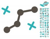 Route Points icon with bonus calendar and time service clip art Vector illustration style is flat iconic symbols grey and cyan colors white background