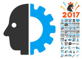 Cyborg Head icon with bonus 2017 new year clip art Vector illustration style is flat iconic symbolsmodern colors rounded edges