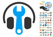 Headphones Tuning Wrench icon with bonus 2017 new year pictograph collection Vector illustration style is flat iconic symbolsmodern colors rounded edges