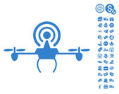 Wifi Repeater Drone pictograph with free bonus clip art Vector illustration style is flat iconic symbols cobalt color white background