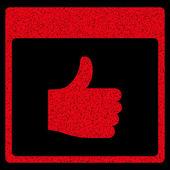 Thumb Up calendario pagina granulosa martellata icona per francobolli filigrana sovrapposizione. Piatto simbolo con struttura impuro. Timbro di guarnizione di gomma di inchiostro rosso di vettore punteggiato con disegno di grunge su una priorità bassa nera
