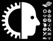 Cyborg Head icon with bonus configuration clip art Vector illustration style is flat iconic symbols on white background