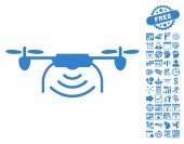 Radio Transmitter Airdrone icon with bonus calendar and time management clip art Vector illustration style is flat iconic symbols cobalt color white background
