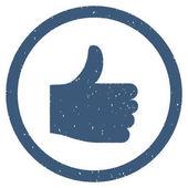 Thumb Up filigrana timbro sigillo di gomma. Simbolo dellicona allinterno del telaio del cerchio con design e polvere di Grunge. Emblema di inchiostro blu di vettore graffiato su una priorità bassa bianca