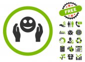 Smile Care Hands icon with free bonus clip art Vector illustration style is flat iconic bicolor symbols eco green and gray colors white background