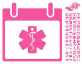 Life Star Calendar Day icon with bonus calendar and time management clip art Vector illustration style is flat iconic symbols pink white background