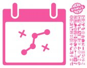 Path Points Calendar Day pictograph with bonus calendar and time management clip art Vector illustration style is flat iconic symbols pink white background