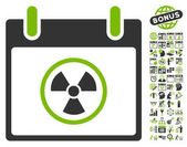 Atomic Calendar Day pictograph with bonus calendar and time management clip art Vector illustration style is flat iconic symbols eco green and gray white background