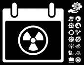 Radioactive Calendar Day icon with bonus options clip art Vector illustration style is flat iconic symbols white black background