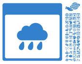 Rain Cloud Calendar Page icon with bonus calendar and time management clip art Vector illustration style is flat iconic symbols cobalt white background