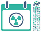 Radioactive Calendar Day pictograph with bonus calendar and time management clip art Vector illustration style is flat iconic symbols cobalt and cyan white background