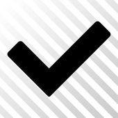 Icone della barra degli strumenti nero Ok. Stile del pittogramma di vettore è un piatto simbolo su sfondo trasparente in diagonale tratteggiata
