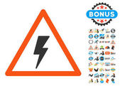 Electricity Shock Warning icon with bonus 2017 new year icon set Vector illustration style is flat iconic symbolsmodern colors