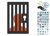 Prison Door pictograph with bonus 2017 new year clip art Vector illustration style is flat iconic symbolsmodern colors