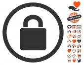 Lock pictograph with bonus love clip art Vector illustration style is flat iconic symbols for web design app user interfaces