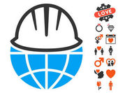 Global Helmet icon with bonus romantic clip art Vector illustration style is flat iconic elements for web design app user interfaces